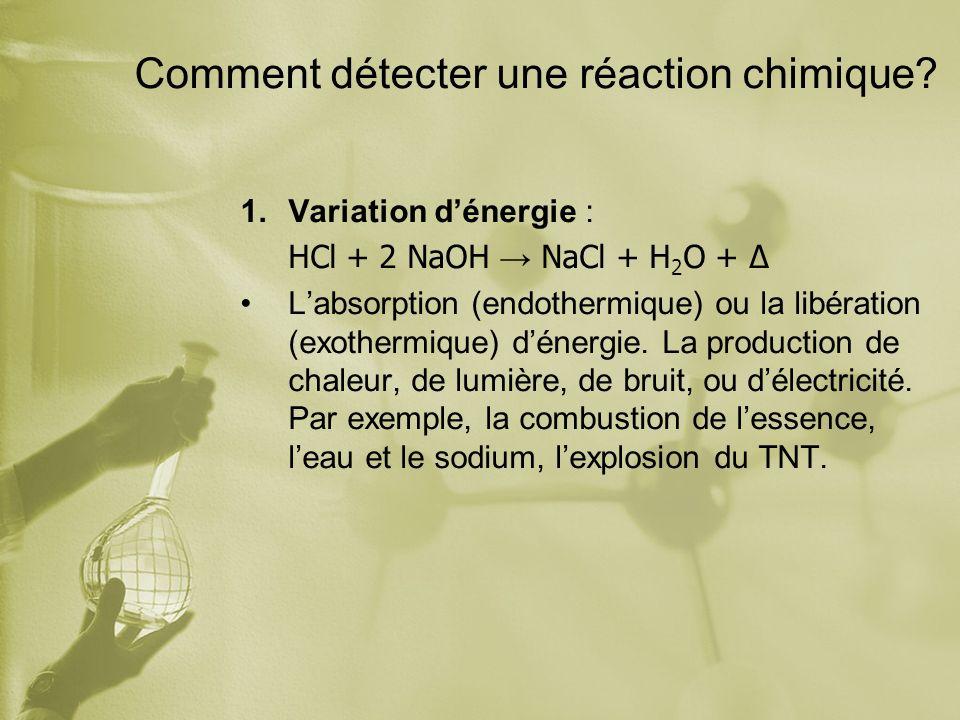 Comment détecter une réaction chimique