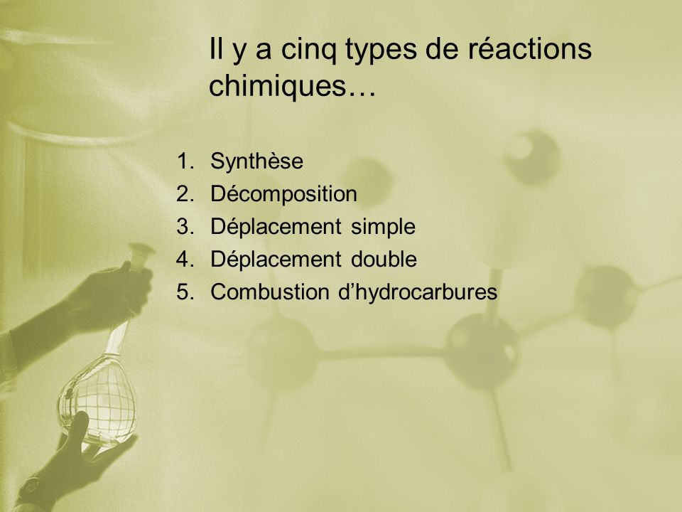 Il y a cinq types de réactions chimiques…
