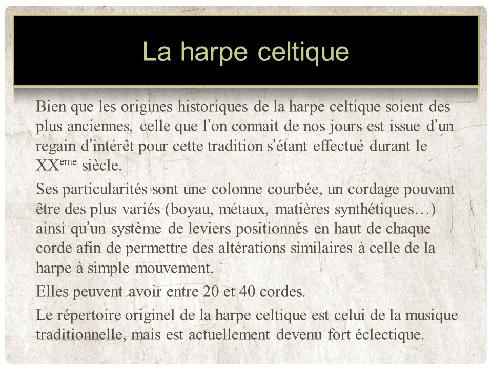 La harpe celtique