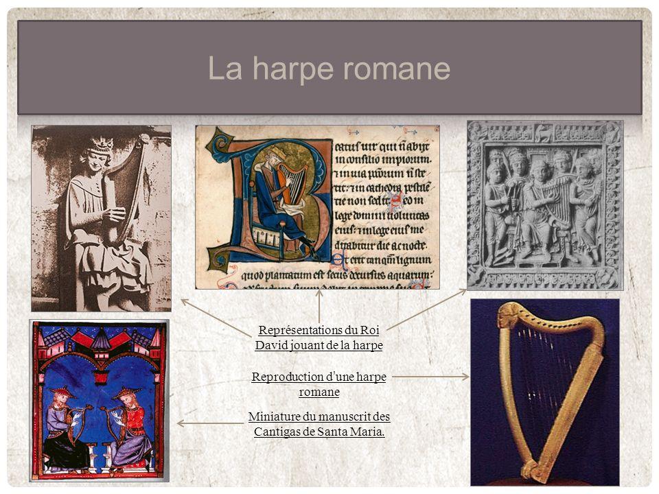 La harpe romane Représentations du Roi David jouant de la harpe