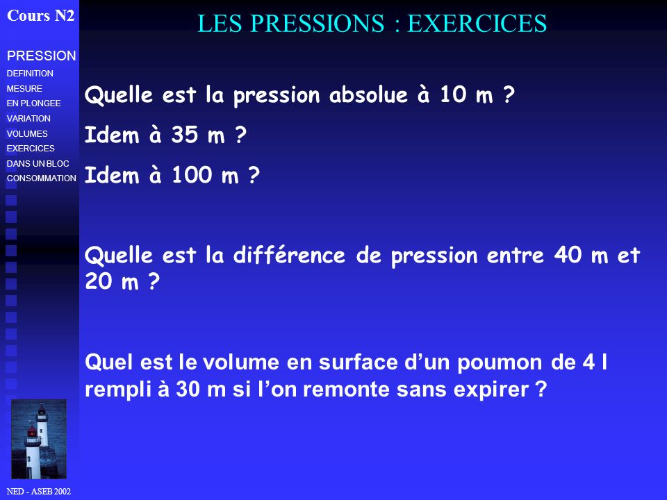 LES PRESSIONS : EXERCICES