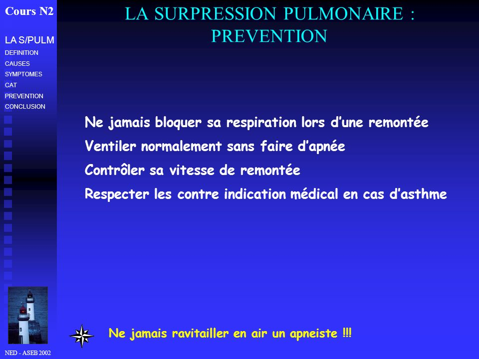 LA SURPRESSION PULMONAIRE : PREVENTION
