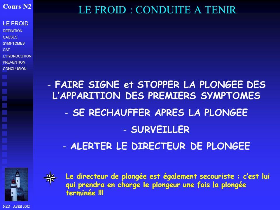 LE FROID : CONDUITE A TENIR