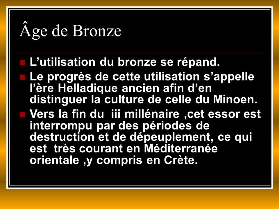 Âge de Bronze L'utilisation du bronze se répand.