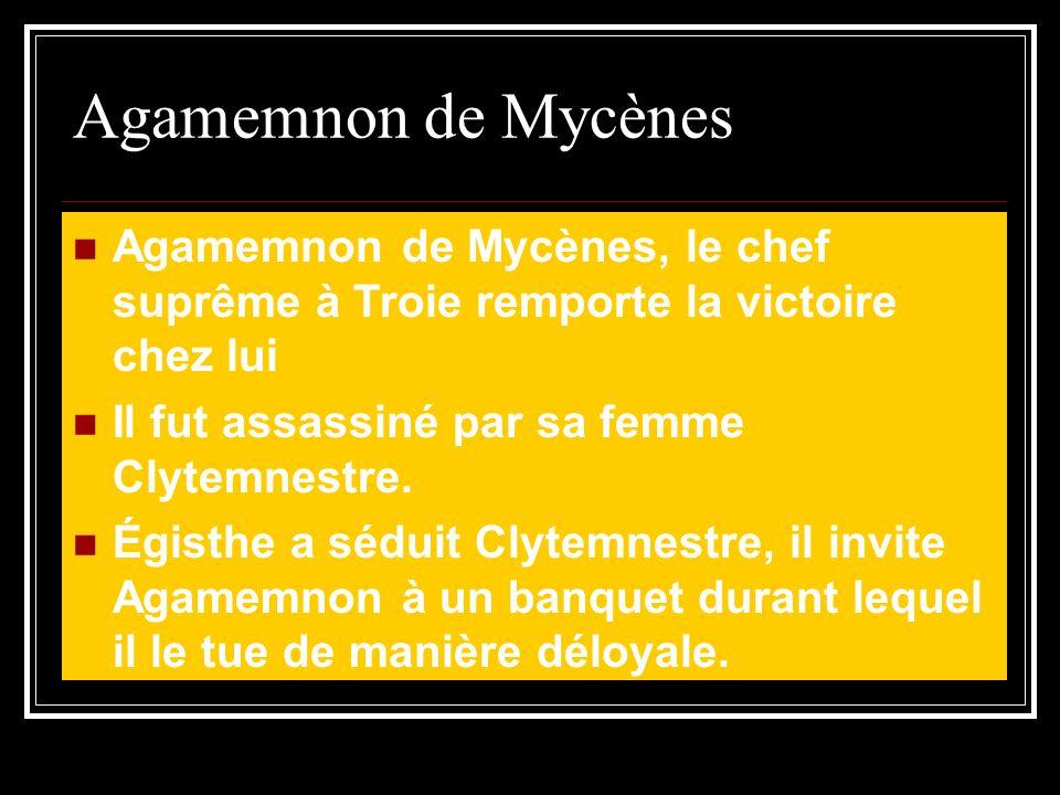 Agamemnon de Mycènes Agamemnon de Mycènes, le chef suprême à Troie remporte la victoire chez lui. Il fut assassiné par sa femme Clytemnestre.