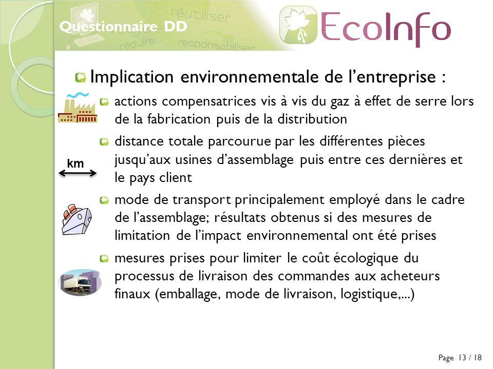 Implication environnementale de l'entreprise :
