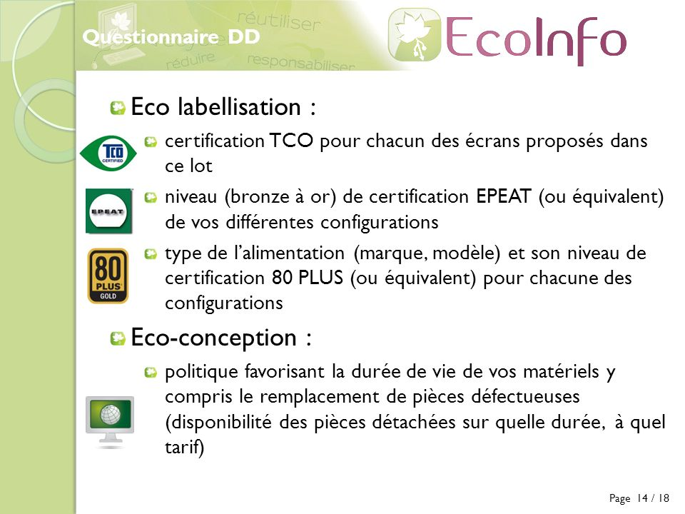 Eco labellisation : Eco-conception : Questionnaire DD