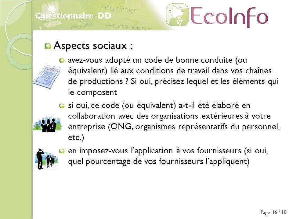Aspects sociaux : Questionnaire DD