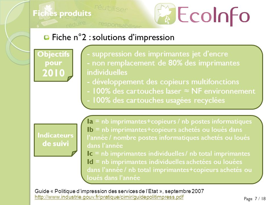 2010 Fiche n°2 : solutions d'impression Fiches produits