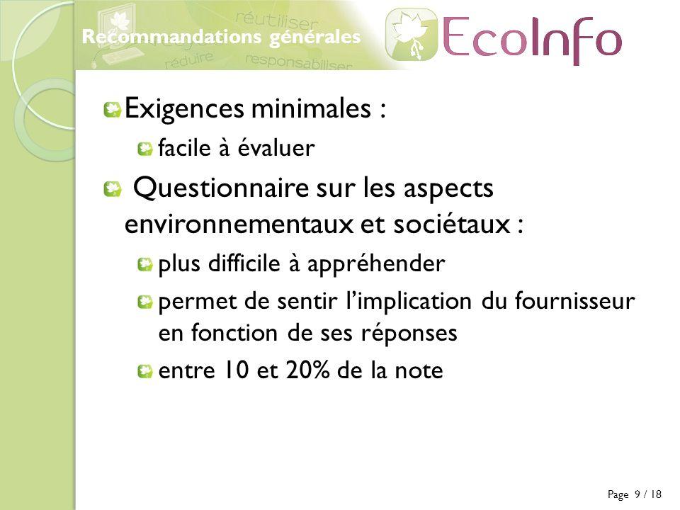 Questionnaire sur les aspects environnementaux et sociétaux :