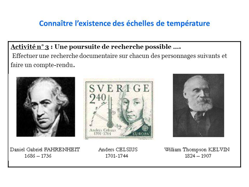 Connaître l'existence des échelles de température