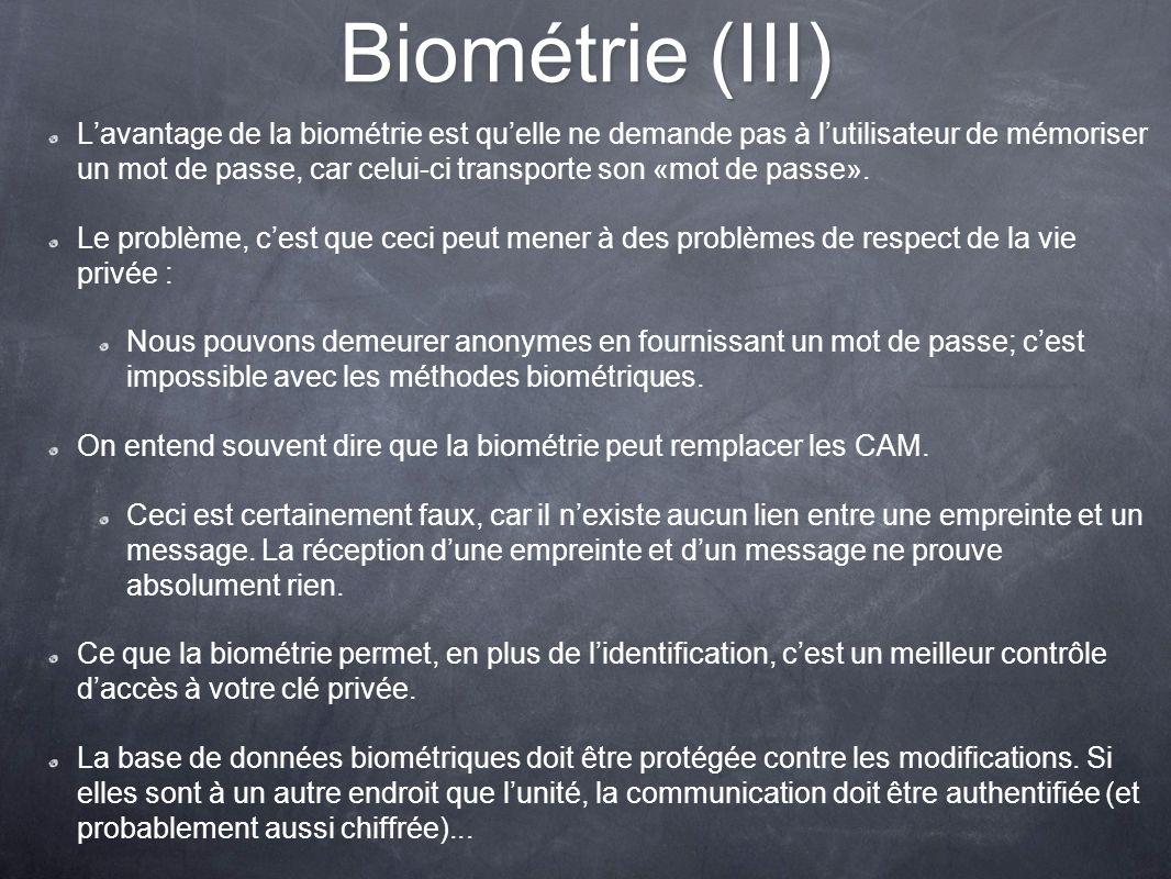Biométrie (III)