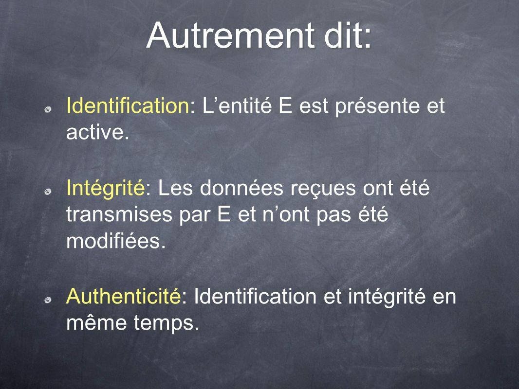 Autrement dit: Identification: L'entité E est présente et active.