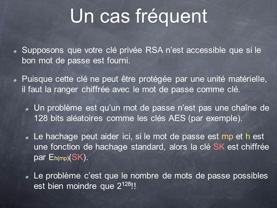 Un cas fréquent Supposons que votre clé privée RSA n'est accessible que si le bon mot de passe est fourni.