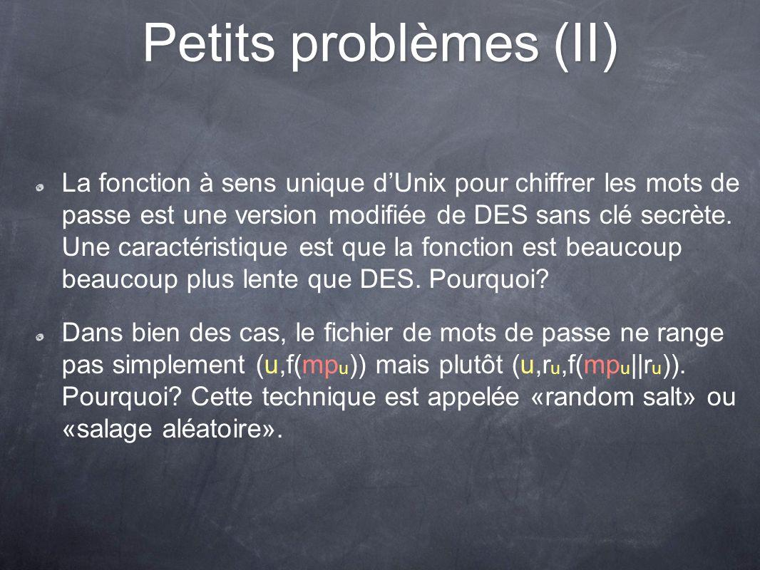 Petits problèmes (II)