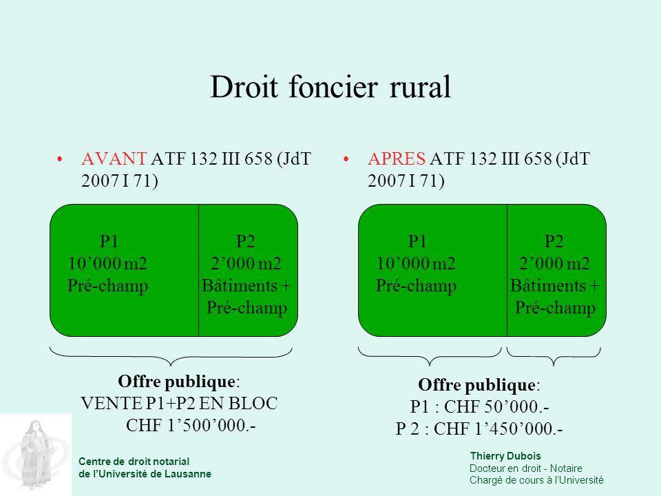 Droit foncier rural AVANT ATF 132 III 658 (JdT 2007 I 71)