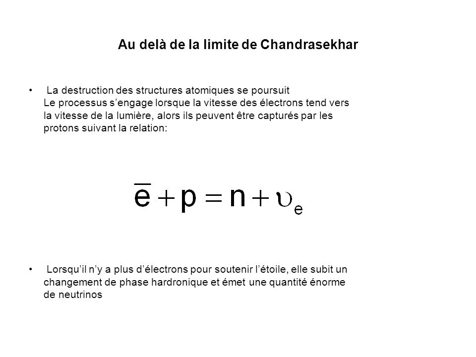 Au delà de la limite de Chandrasekhar