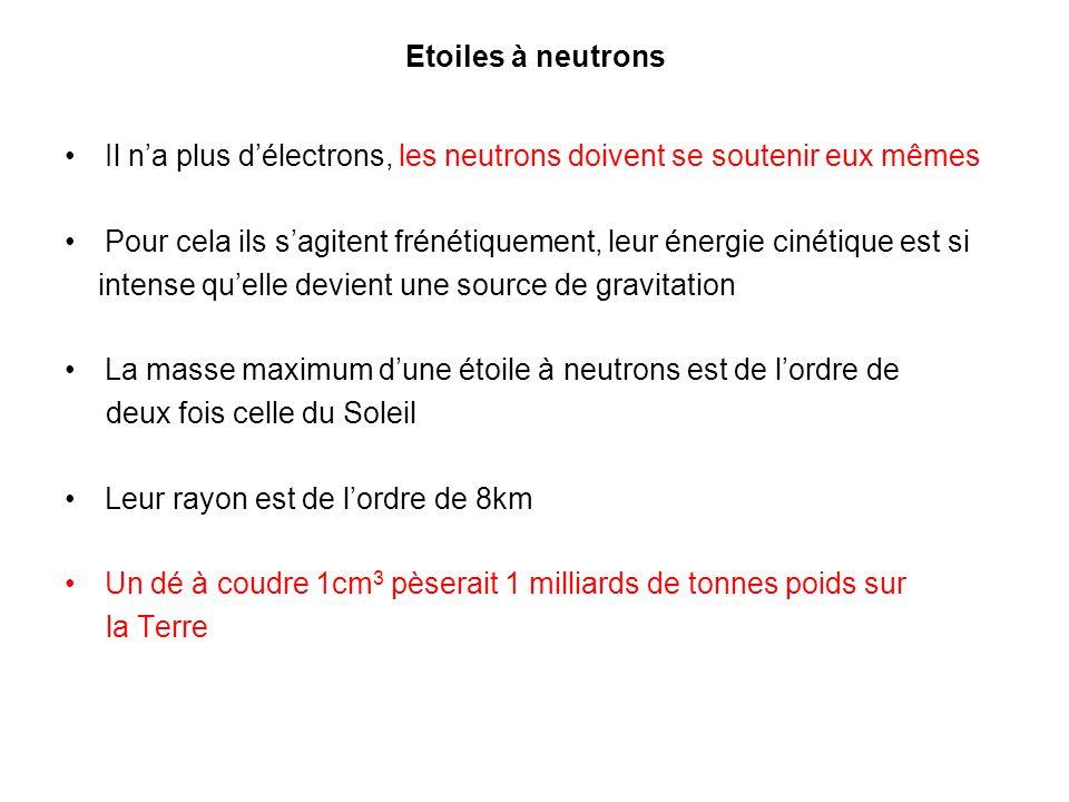 Etoiles à neutrons Il n'a plus d'électrons, les neutrons doivent se soutenir eux mêmes.