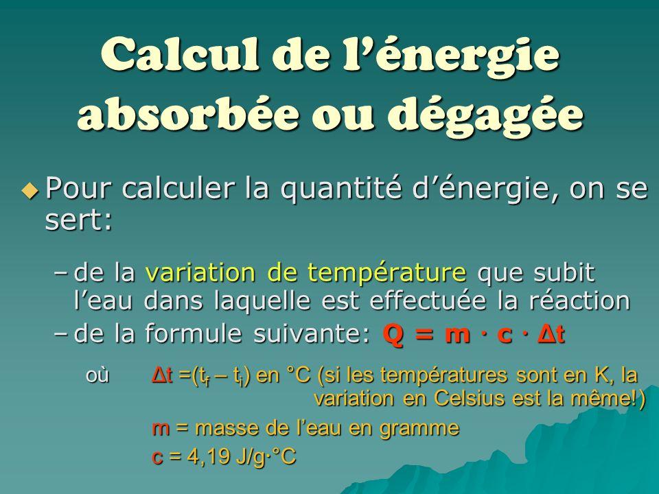 Calcul de l'énergie absorbée ou dégagée