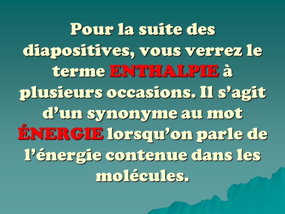 Pour la suite des diapositives, vous verrez le terme ENTHALPIE à plusieurs occasions.