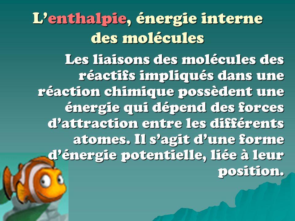L'enthalpie, énergie interne des molécules
