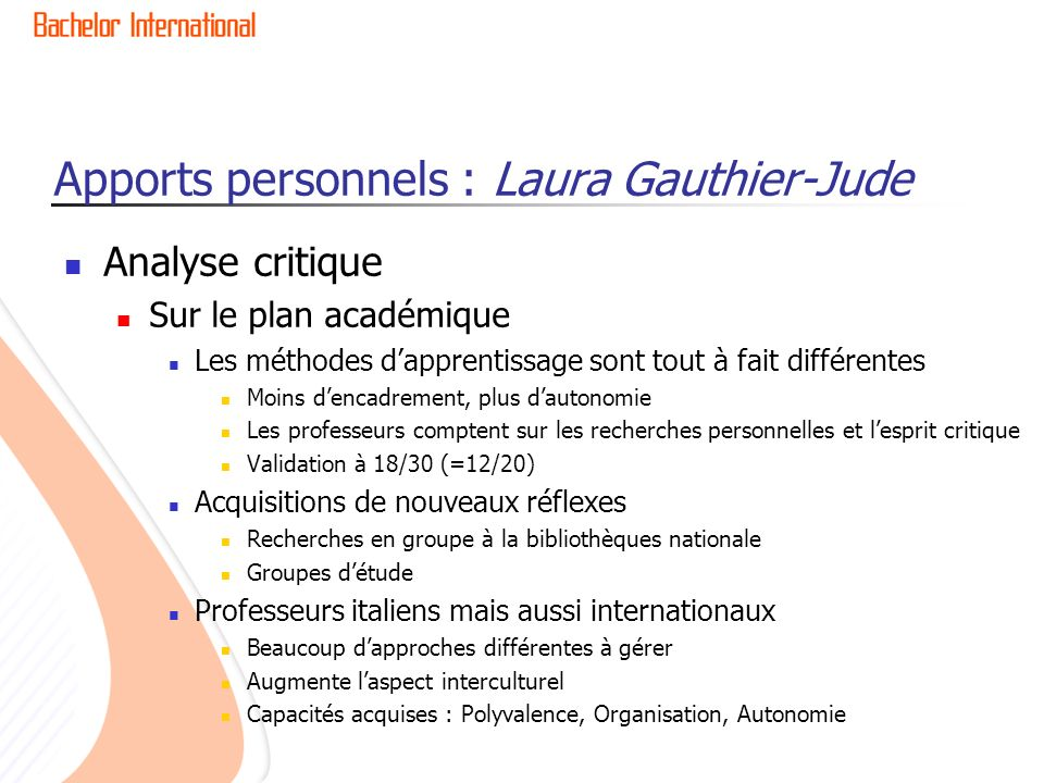 Apports personnels : Laura Gauthier-Jude