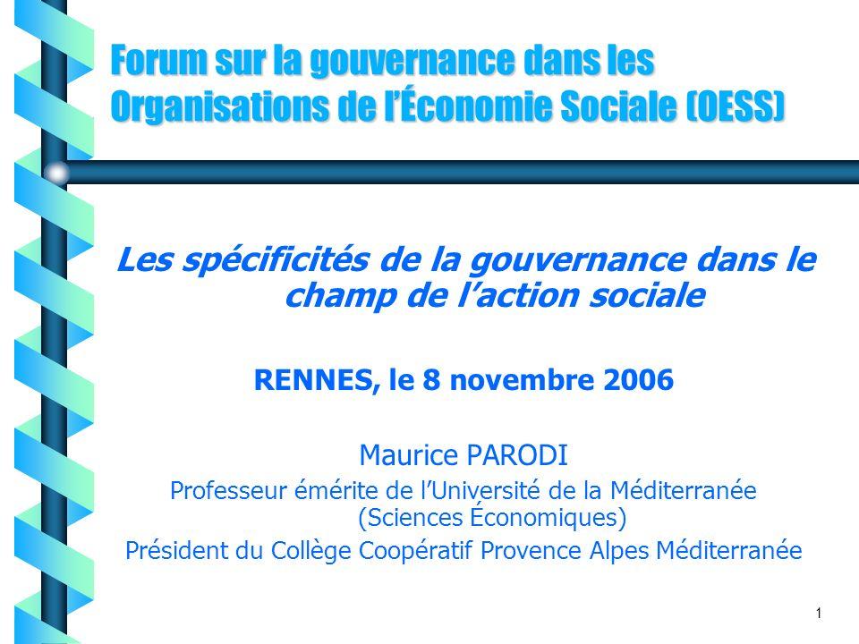 Les spécificités de la gouvernance dans le champ de l'action sociale