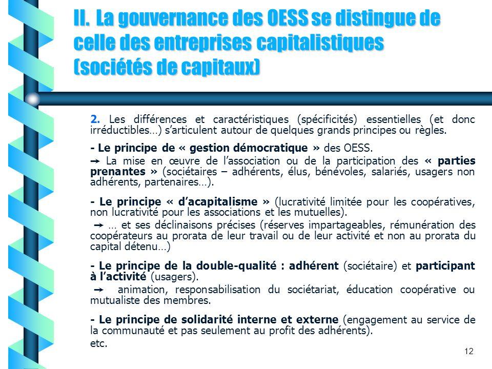 II. La gouvernance des OESS se distingue de celle des entreprises capitalistiques (sociétés de capitaux)