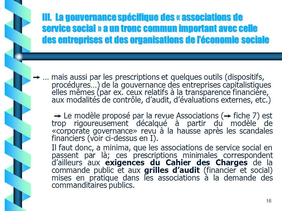 III. La gouvernance spécifique des « associations de service social » a un tronc commun important avec celle des entreprises et des organisations de l'économie sociale