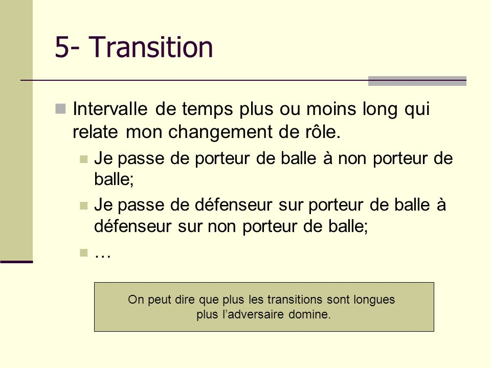 5- Transition Intervalle de temps plus ou moins long qui relate mon changement de rôle. Je passe de porteur de balle à non porteur de balle;