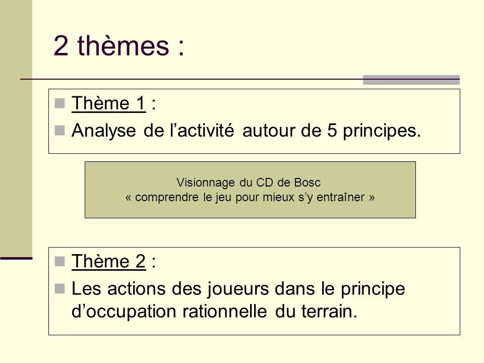 2 thèmes : Thème 1 : Analyse de l'activité autour de 5 principes.