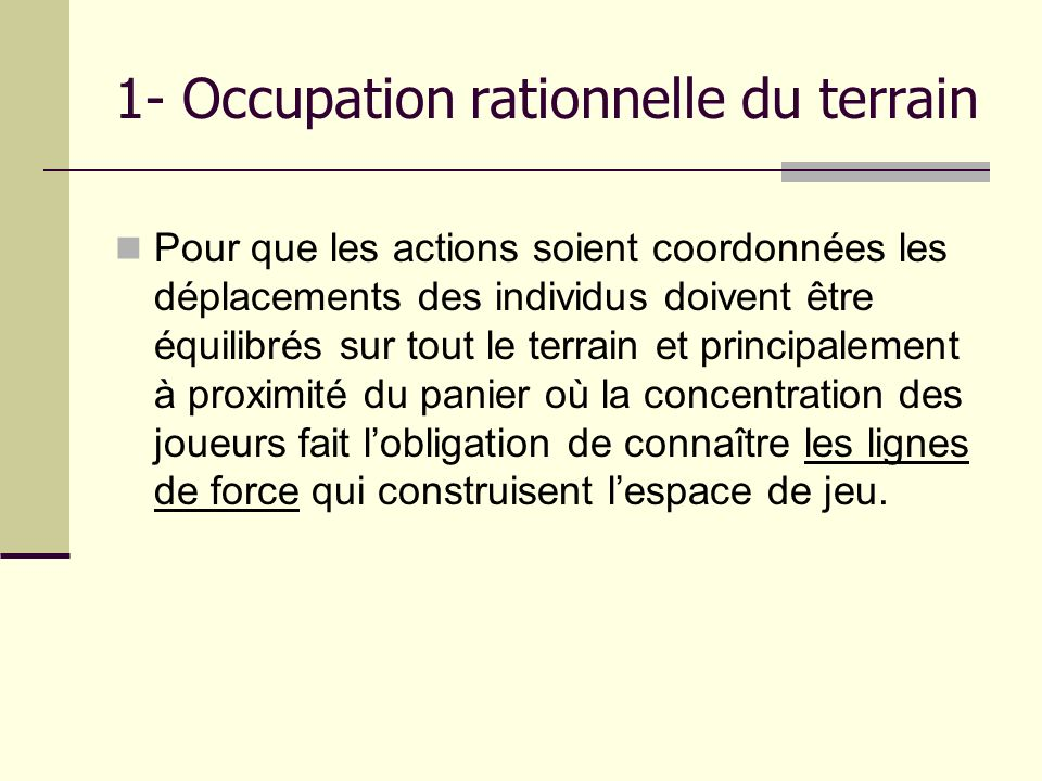 1- Occupation rationnelle du terrain