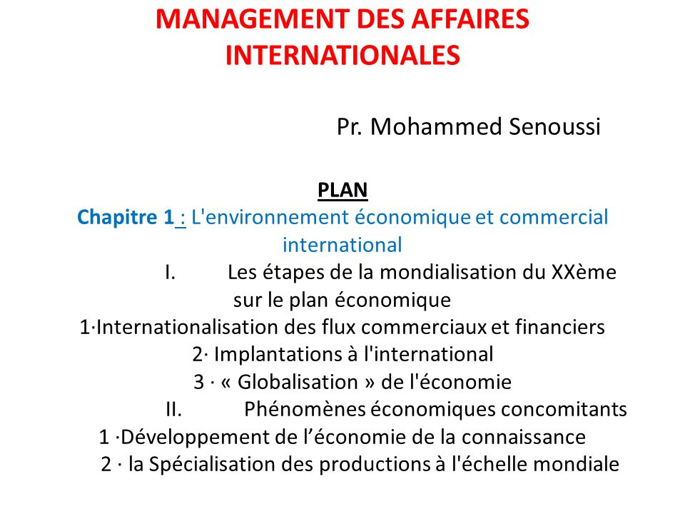 MANAGEMENT DES AFFAIRES INTERNATIONALES