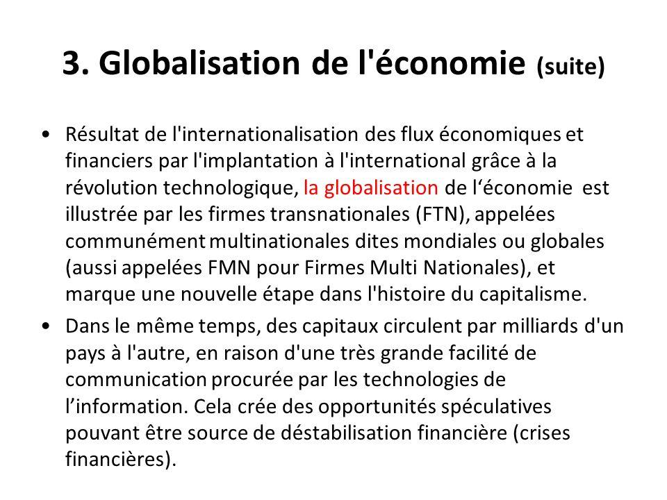 3. Globalisation de l économie (suite)