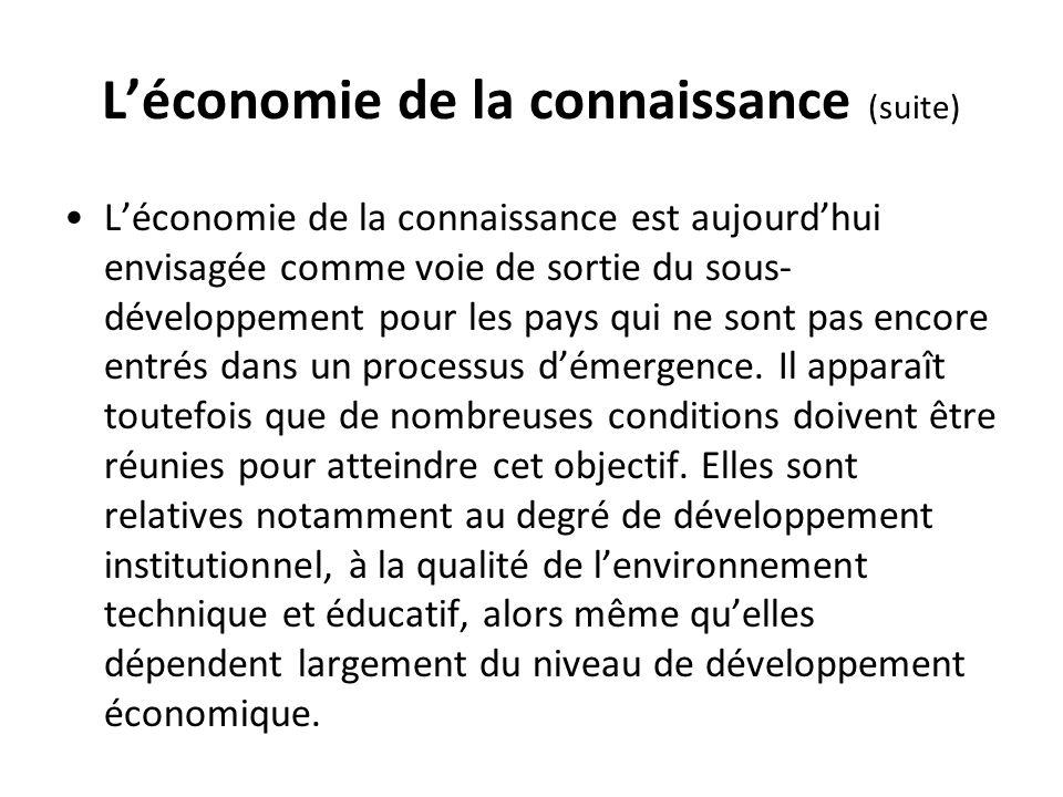 L'économie de la connaissance (suite)