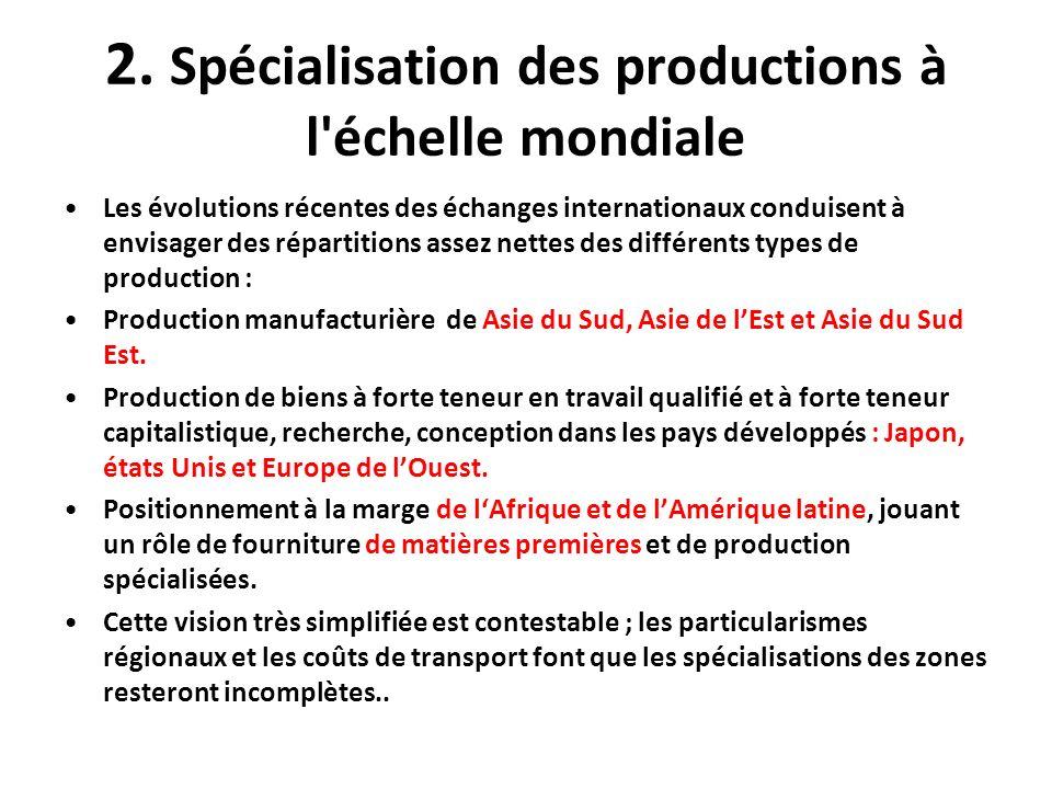 2. Spécialisation des productions à l échelle mondiale
