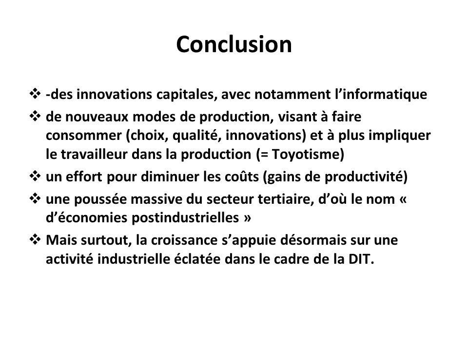 Conclusion -des innovations capitales, avec notamment l'informatique