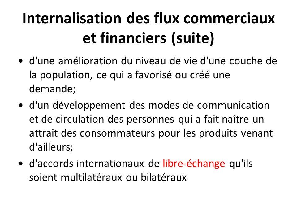 Internalisation des flux commerciaux et financiers (suite)