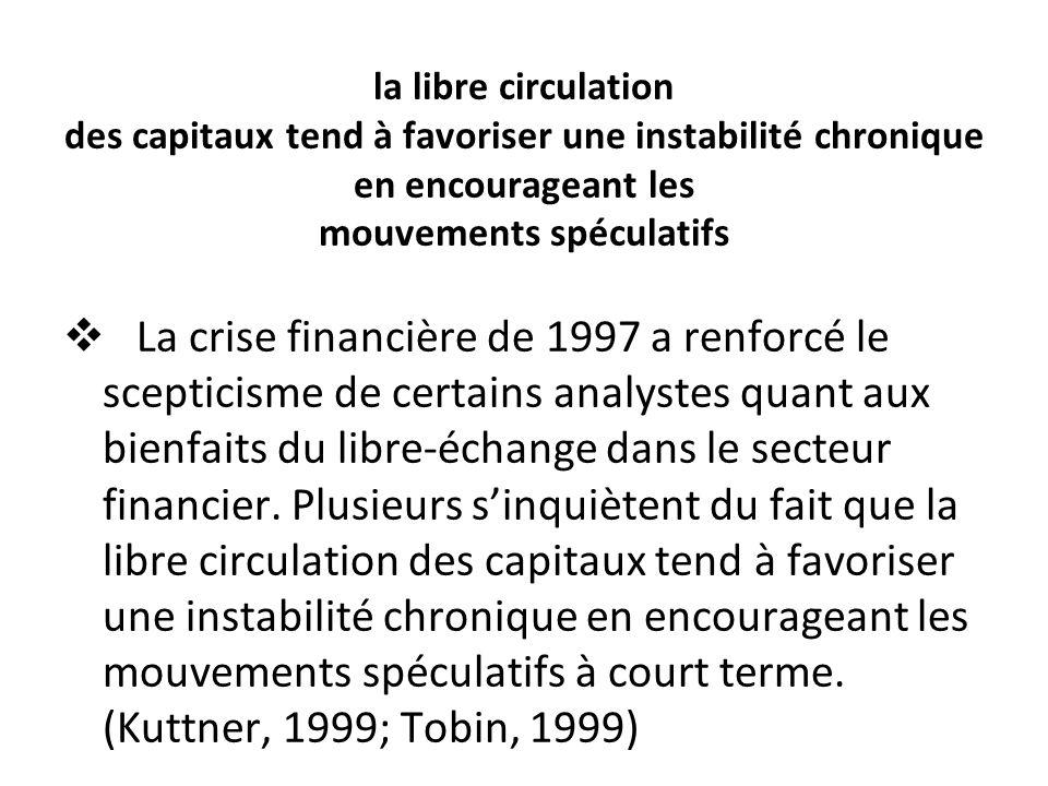 la libre circulation des capitaux tend à favoriser une instabilité chronique en encourageant les mouvements spéculatifs