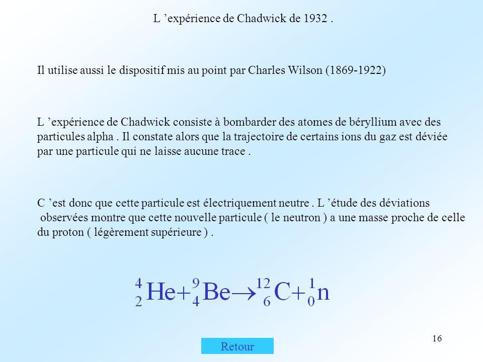 L 'expérience de Chadwick de 1932 .
