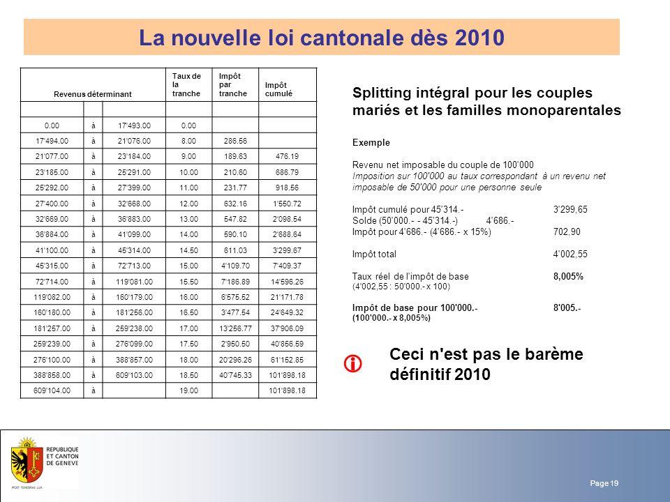 La nouvelle loi cantonale dès 2010