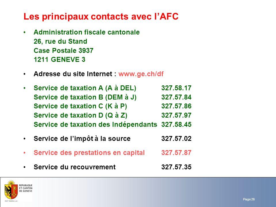 Les principaux contacts avec l'AFC