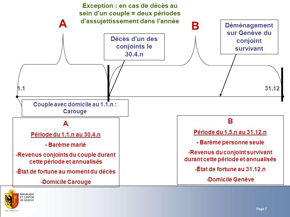 Exception : en cas de décès au sein d un couple = deux périodes d assujettissement dans l année