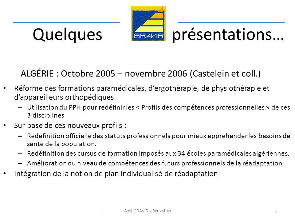 ALGÉRIE : Octobre 2005 – novembre 2006 (Castelein et coll.)