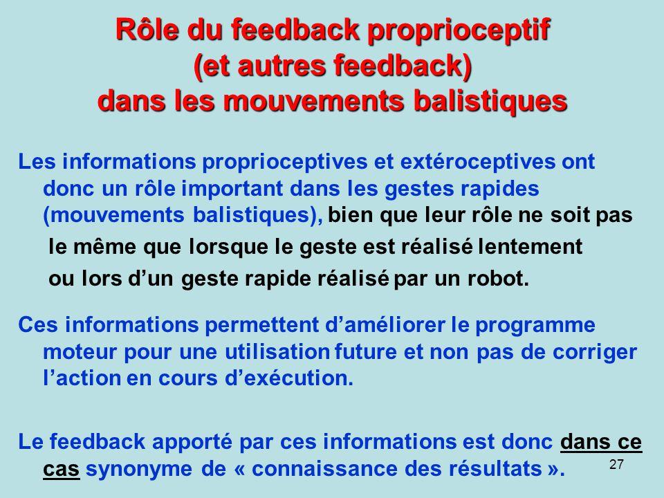 Rôle du feedback proprioceptif (et autres feedback) dans les mouvements balistiques
