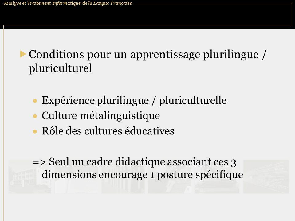 Conditions pour un apprentissage plurilingue / pluriculturel