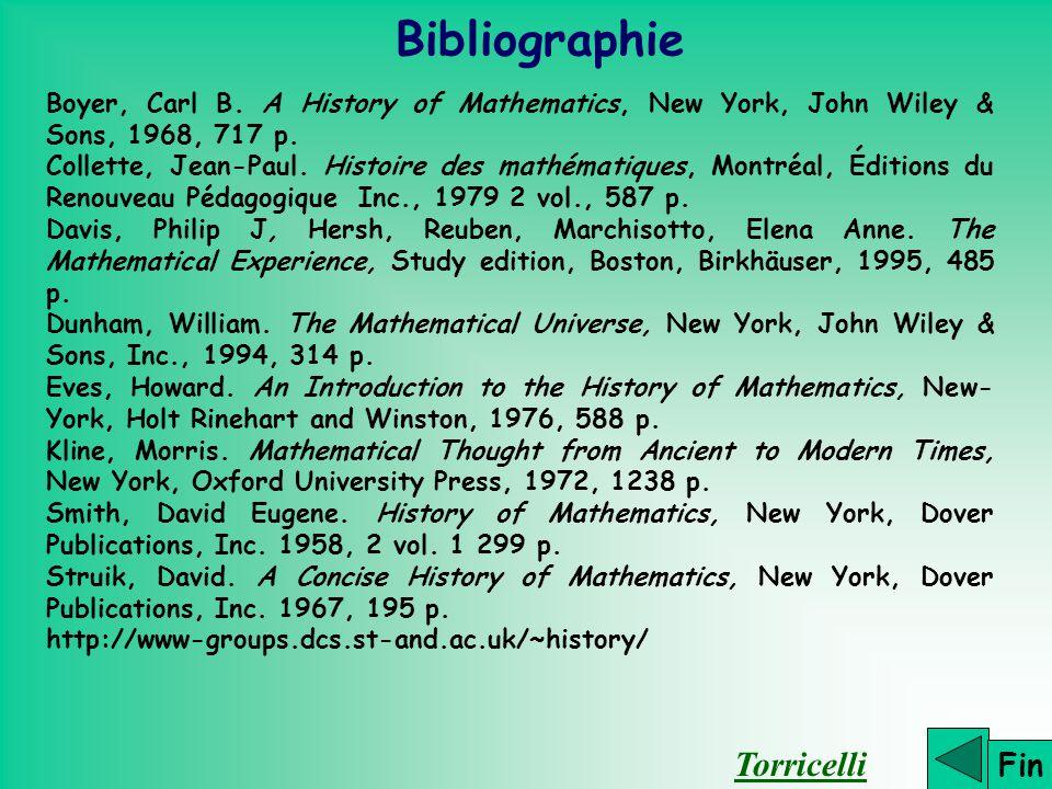 Bibliographie Torricelli Fin