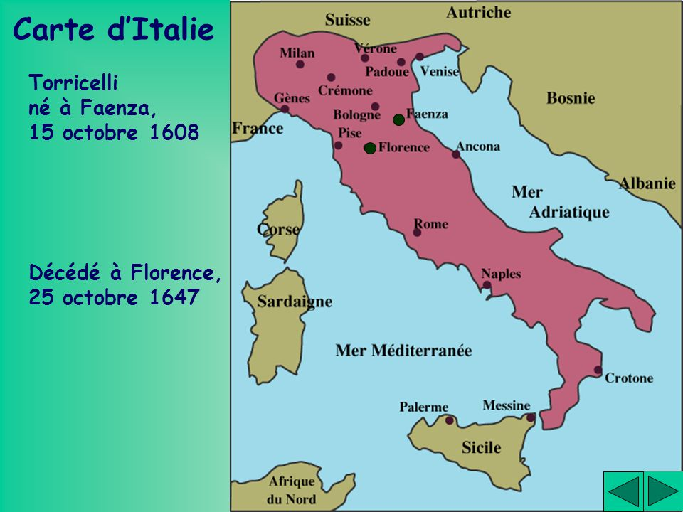 Carte d'Italie Torricelli né à Faenza, 15 octobre 1608