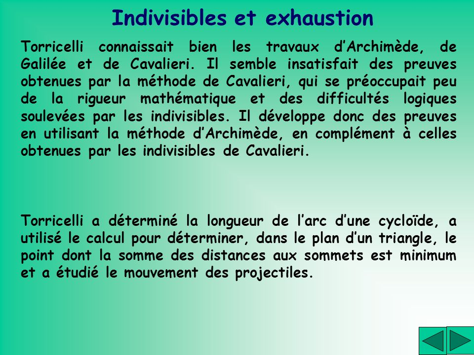 Indivisibles et exhaustion