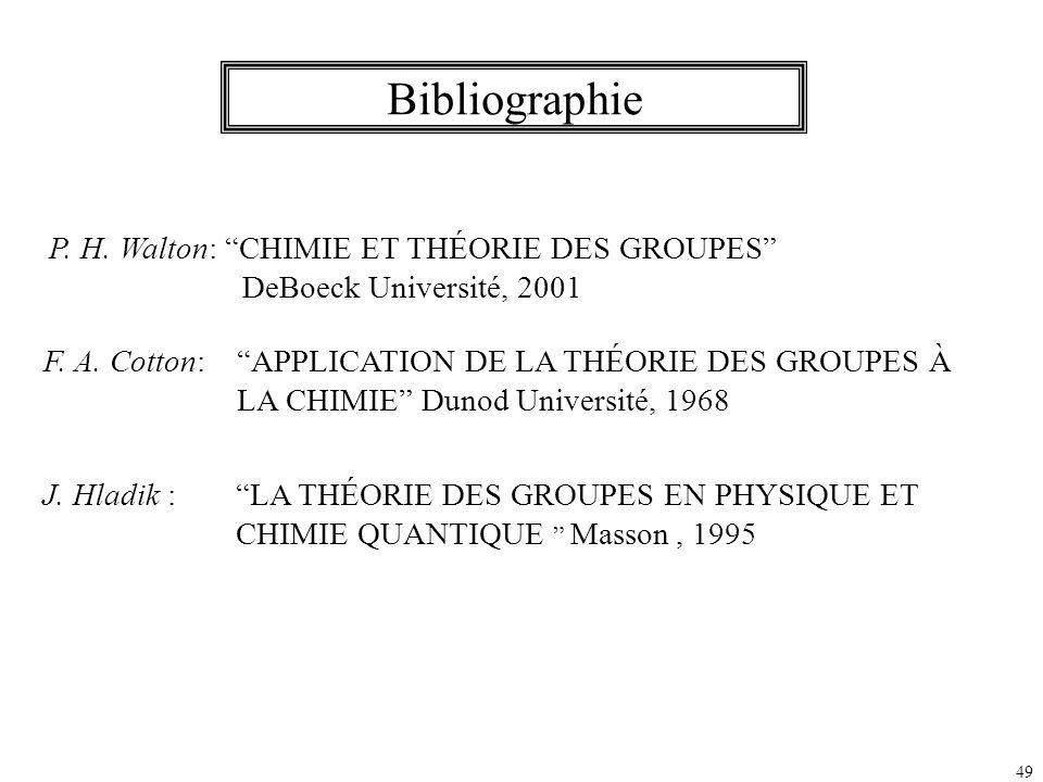 Bibliographie P. H. Walton: CHIMIE ET THÉORIE DES GROUPES